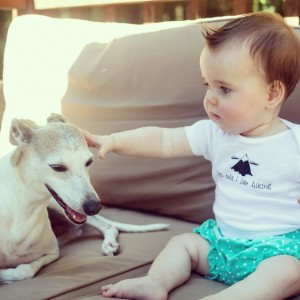 1) baby/canine interaction 2) hiking shirt 3) bloomers!