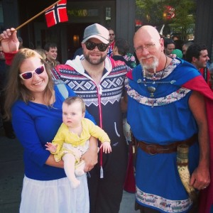 Watching the Norway Day parade in Seattle with Nora's new…