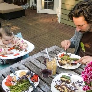 BabyQ! Nora had zucchini, tomato, pepper, and lentil mushroom burgers…